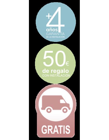 4 años de garantía de la instalación / 50€ de dto por la compra del producto con instalación / Envío Gratis